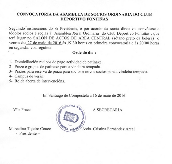 CONVOCATORIA ASAMBLEA ORDINARIA DE SOCIOS 27-05-2016